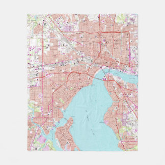 Cobertor De Velo Mapa do vintage de Jacksonville Florida (1964)