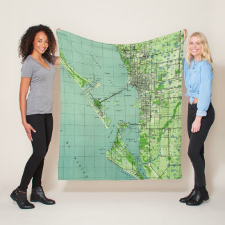 Cobertor De Velo Mapa do vintage de Sarasota Florida (1944)
