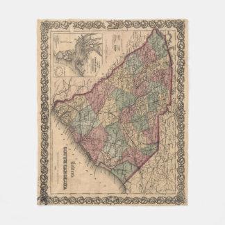 Cobertor De Velo Mapa do vintage de South Carolina (1865)