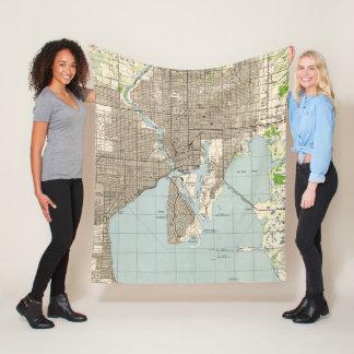 Cobertor De Velo Mapa do vintage de Tampa Florida (1944)