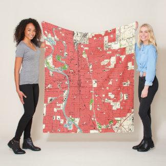 Cobertor De Velo Mapa do vintage de Wichita Kansas (1961)