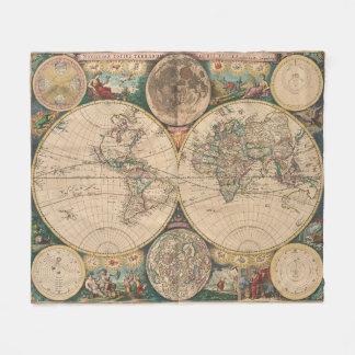 Cobertor De Velo Mapa do vintage do mundo (1672) 2