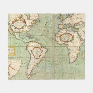 Cobertor De Velo Mapa do vintage do mundo (1702)