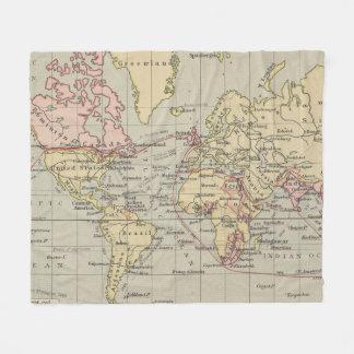 Cobertor De Velo Mapa do vintage do mundo (1914)