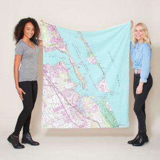 Cobertor De Velo Mapa do vintage do porto St Lucie Entrada (1948)