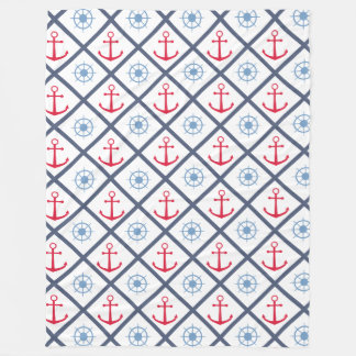 Cobertor De Velo Marinheiro náutico do vermelho de azuis marinhos