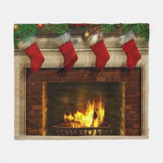 Cobertor De Velo Meias do Natal e cobertura do velo da lareira