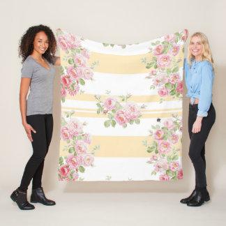 Cobertor De Velo Meio da listra do botão de ouro dos rosas do verão