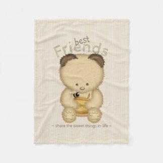 Cobertor De Velo Melhores amigos bonitos do urso e da abelha de mel