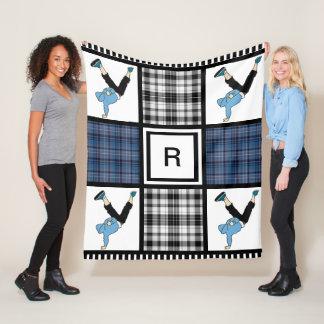 Cobertor De Velo Menino de B ou menina & xadrez de B