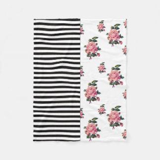 Cobertor De Velo Metade e meia listra e rosa florais