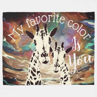 Cobertor De Velo Minha cor favorita é você personalizou girafas