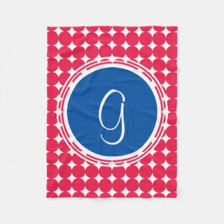 Cobertor De Velo Monograma azul & vermelho das bolinhas