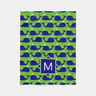 Cobertor De Velo Monograma baleias azuis & verdes de |