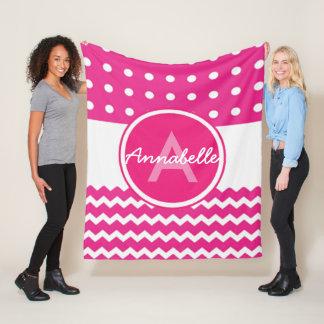 Cobertor De Velo Monograma branco cor-de-rosa de Chevron
