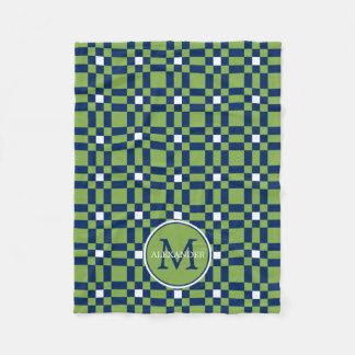 Cobertor De Velo Monograma branco do azulejo do verde da folha dos
