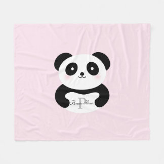 Cobertor De Velo Monograma feminino bonito do urso de panda do bebê