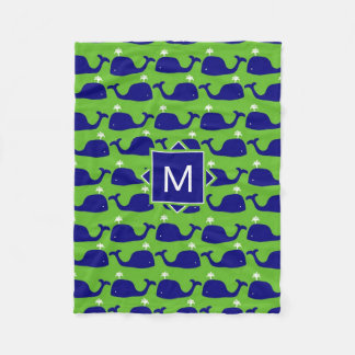 Cobertor De Velo Monograma formal baleias azuis & verdes de |