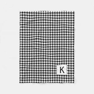 Cobertor De Velo Monograma Houndstooth preto e branco Pattetrn