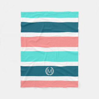 Cobertor De Velo Monograma listrado do coral, da turquesa & da