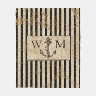 Cobertor De Velo Monograma náutico da âncora do mapa de Velho Mundo