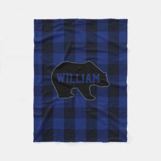 Cobertor De Velo Monograma preto e azul do urso da verificação do