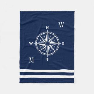 Cobertor De Velo Monogramas náuticos do costume do rosa de compasso