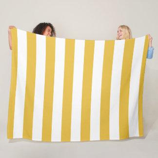 Cobertor De Velo Mostarda e cobertura listrada branca do velo
