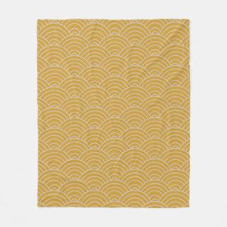 Cobertor De Velo Mostarda e Taupe quentes do teste padrão de onda