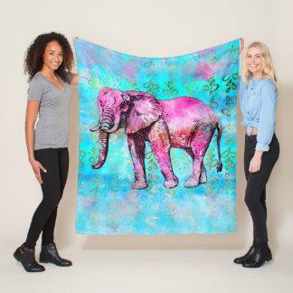 Cobertor De Velo Na moda azul do rosa da aguarela do elefante
