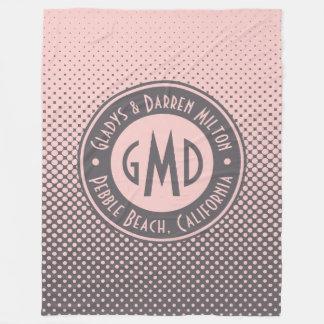 Cobertor De Velo Na moda cinzento cor-de-rosa milenar do monograma