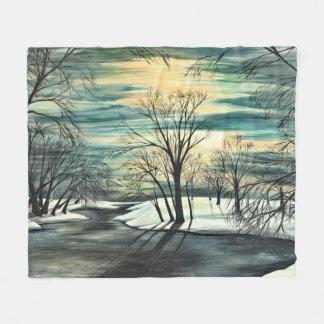 Cobertor De Velo Nascer do sol na lagoa do inverno