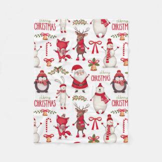 Cobertor De Velo Natal bonito Santa, pinguins, e ursos polares