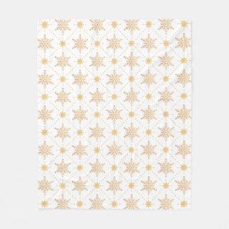 Cobertor De Velo Natal elegante Patttern dos flocos de neve do ouro
