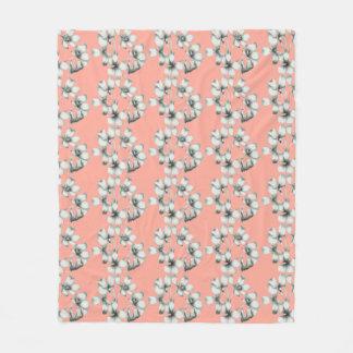 Cobertor De Velo NEW-Bridal-Bouquet-Floral-Peach-Med_Fleece_Blanket