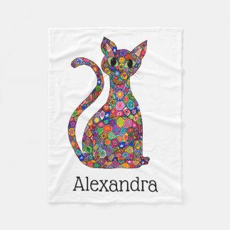 Cobertor De Velo Nome colorido bonito do monograma do gato do