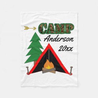 Cobertor De Velo Nome de acampamento desportivo da barraca da