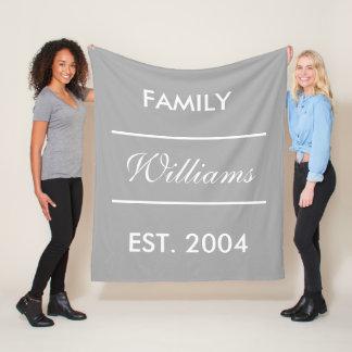 Cobertor De Velo Nome de família feito sob encomenda cinzento e