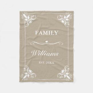 Cobertor De Velo Nome de família feito sob encomenda do quadro