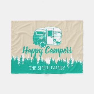 Cobertor De Velo Nome de família rústico de acampamento da floresta