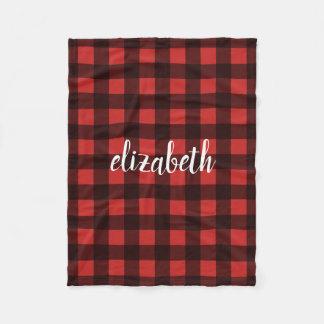 Cobertor De Velo Nome vermelho do costume da xadrez do búfalo preto