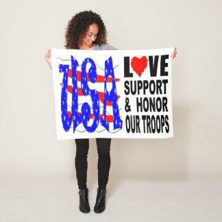 Cobertor De Velo O apoio do amor dos EUA e honra nossas tropas