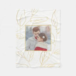 Cobertor De Velo O branco chique com a cor do ouro botânica