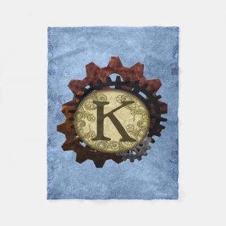 Cobertor De Velo O Grunge Steampunk alinha a letra K do monograma