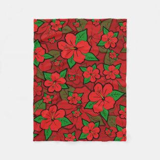Cobertor De Velo O hibiscus floresce o vermelho