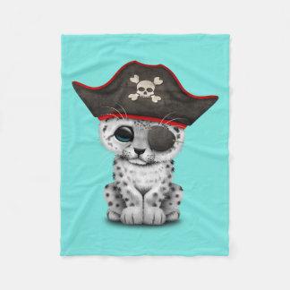 Cobertor De Velo O leopardo de neve bonito Cub do bebê pirateia