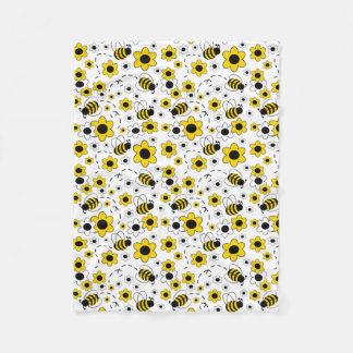 Cobertor De Velo O mel Bumble floral amarelo branco do zangão da