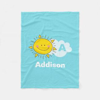Cobertor De Velo O monograma feliz bonito da luz do sol de Kawaii
