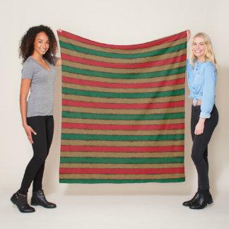 Cobertor De Velo O Natal listra o vermelho, o verde e o Brown