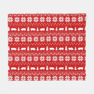 Cobertor De Velo O porco mostra em silhueta o teste padrão do Natal